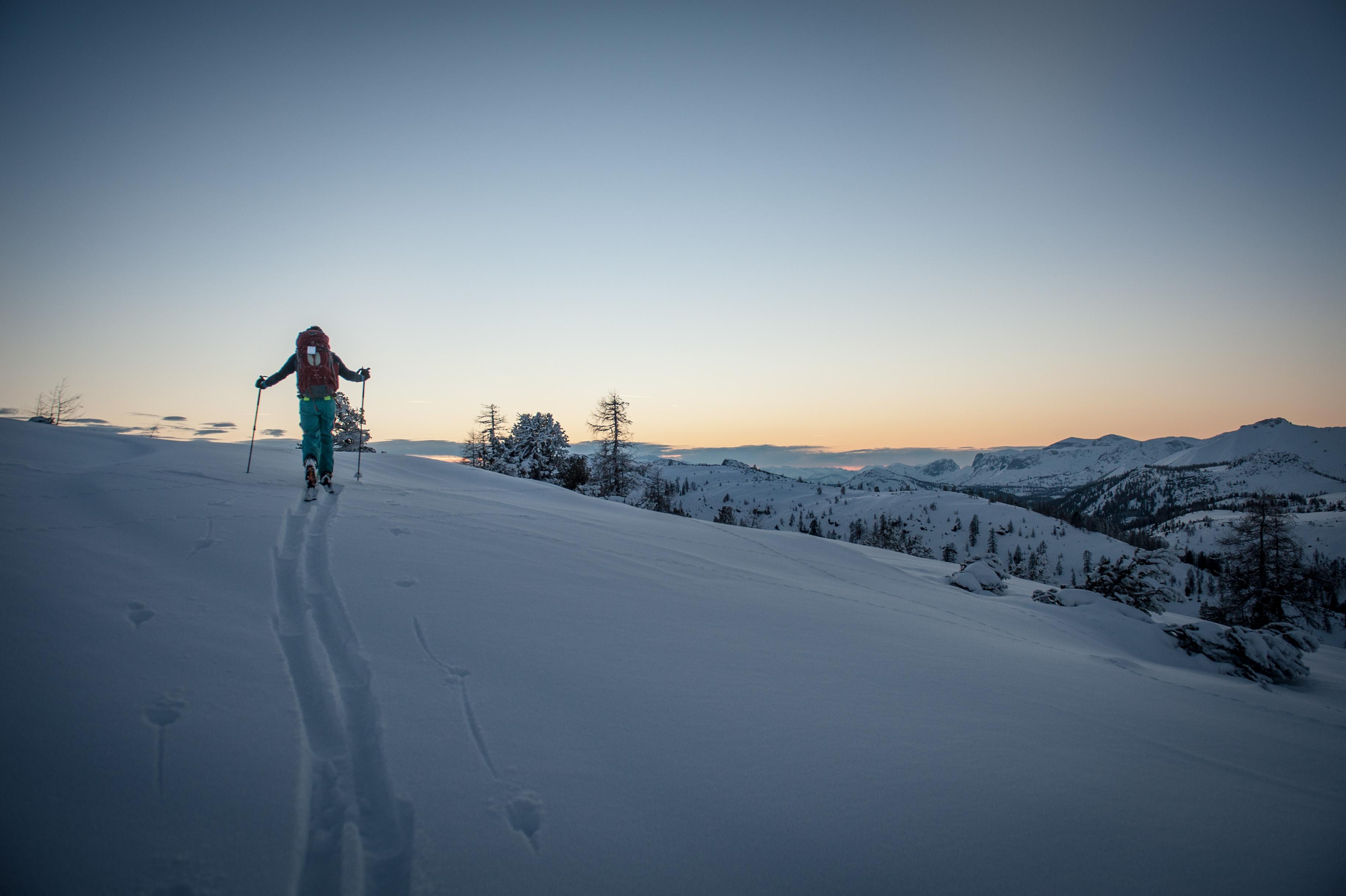 Die letzten Sonnenstrahlen kurz vor dem Gipfel